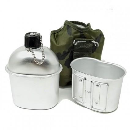Borraccia Militare con Gavetta in alluminio 0,8 Lt